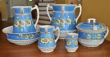 Striking 6-Piece Antique Pitcher Wash Bowl Set Burgess Campbell Daisies Sky Blue