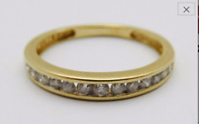 Genuine 10k Yellow Gold Band Ring with Diamonds