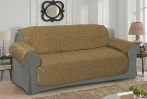 BROWN SOFA - SETTEE SLIP COVER / PET PROTECTOR (QUILTED) FLORAL DESIGN
