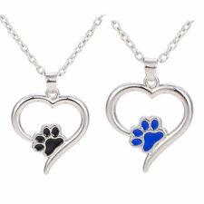 Pawprint Enamel Cat Dog Bear Paw Pendant Heart Necklace Free Shipping Collares