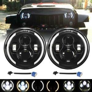 """2x7""""Inch LED Headlights Hi/Lo DRL Turn Light for Jeep JK TJ CJ Renegade Patriot"""