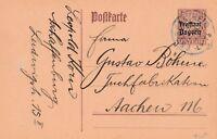 Postkarte verschickt von Aschaffenburg nach Aachen aus dem Jahr 1920