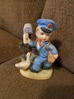 Vintage Napcoware Mailman Bisque Porcelain Figurine # C-7119 Japan HTF