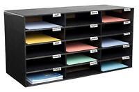 AdirOffice Black Corrugated Cardboard 15 Slot Classroom File Organizer