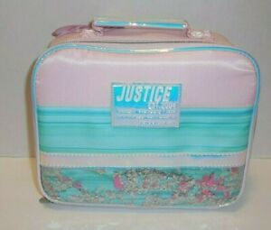 Justice Girls Stars Lunch Box Bag Tote Shaky Pink Blue New