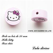 Perle en bois de 20 mm, Perle plate, Hello kitty : Rose clair
