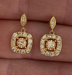 18ct Gold 1 Carat Diamond Cluster Drop Dangling Earrings, 18k 750