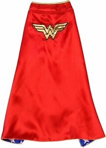Wonder Woman Dog Cape - XL - Silky - Red, Blue, Gold - Embroidered - Rubie's NWT