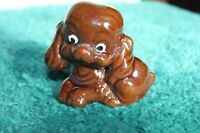 Vintage Small Brown Dog Figurine Big Eyes Japan Red Pottery?  7/5/70