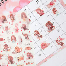 6pcs Cute Cartoon Girl Stickers Kawaii Stationery DIY Scrapbooking Label Sticker