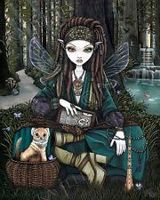 Woodland Fairy Magical Forest Mongoose Koi Enchanted Zoti Signed Jelina Print
