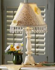Country Beaded Scroll Table Lamp With Patchwork Checks Floral Flower Lace Shade