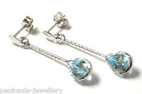 9ct White Gold Blue Topaz Teardrop Earrings Gift Boxed Made in UK Christmas Gift