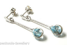 9ct White Gold Blue Topaz Teardrop Earrings Gift Boxed Made in UK Christmas Xmas