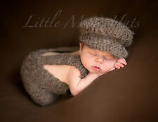 Newborn/Baby Crochet Brown Suspenders and Hat Set Photo Prop