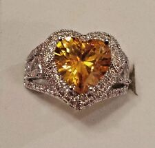Sterling Silver Plated Yellow & White Topaz Heart Gemstone Ring Size 7