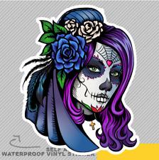 Day Dead Makeup Girl Flowers Vinyl Sticker Decal Window Car Van Bike 2848