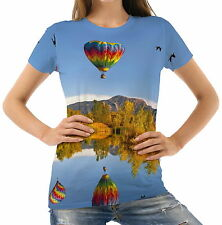 Hot Air Balloons Reflected In The Lake Womens T-Shirt Tee wb1 acr44862