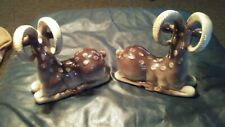 "Pair Of Vtg Fitz & Floyd Ceramic Ram Goat Figurines Bookends 7 1/2"" Tall Offer?"
