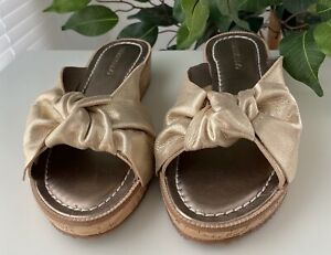 Bernardo Gold Leather Slides NEW 8.5