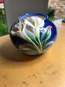 Franz Porcelain Double Calla Lily Round Flower Vase XP1887 NIB