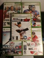 Lot of 5 games: NHL 09, NCAA Football 08, Fifa Soccer 12, MLB2K7, Madden 16