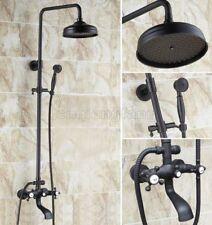 Black Oil Rubbed Brass Bathroom Rain Shower Faucet Set Bath Tub Mixer Tap Chg101