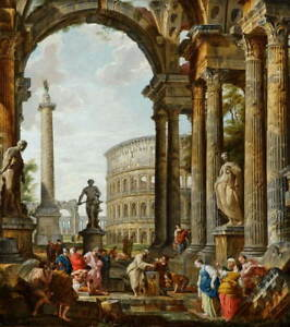 Giovanni Panini Philosopher Diogenes Throwing Down His Bowl Giclee Canvas Print