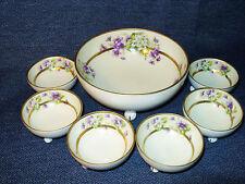 Antique Prince Regent China LDBC Bavaria Footed Porcelain Berry Bowl Set VGUC