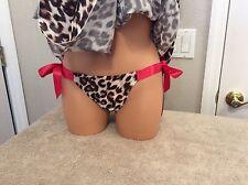 Victoria's Secret Animal Print W/Ties Baby Doll Nightie-Thong Panties. Small NEW