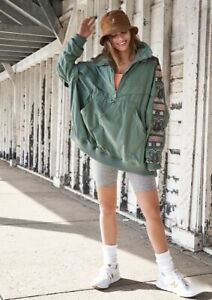 Free People Jacket Hooded Anorak Pullover Embroidered She Fly Green Nude XS NWT