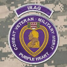 Combat Veteran - Purple Heart Patch with IRAQ Tab - OIF - Ranger - USMC - Army