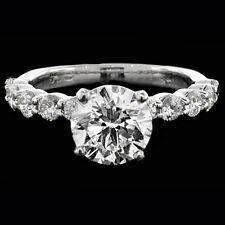 1.75 ct ROUND CUT solitaire diamond engagement Ring 14k WHITE GOLD D COLOR VS