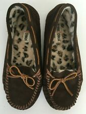 Minnetonka brown leather moccasin slippers womens 11 leopard faux fur shoes