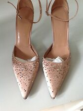 L.K.BENNETT LADIES  SATIN HIGH HEELS SIZE 38.5 WITH SWAROVSKI NUDE COLOR