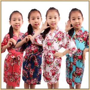 Girls' Satin Kimono Robe Bathrobe Nightgown Spa Party Wedding Birthday