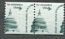 Error  1616  US 9 cent  Right to Assemble, pair.  Misperf Pair.  Issued 1976.
