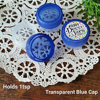 50 Plastic 1/4oz JARS Mini Container 1tsp #3301 Trans BLUE Cap Lid DecoJars USA