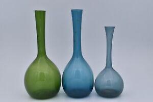5 Vintage Retro Bulb Vases  Arthur Percy for Gullaskruf Glassworks Sweden 1960s