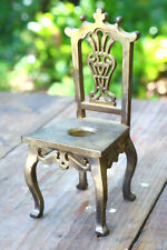 Antique Metalware Brass Decorative Ars Small Chair Doll Size Candle Holder Kn