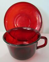 Classic Ruby Red Vintage Arcoroc Rim Shaped Cup and Saucer Set France EUC