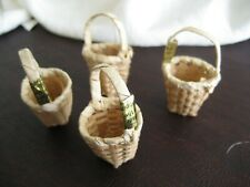 Mini Woven Baskets Wicker Straw Easter Craft Doll House Lot of 4 PHILIPPINES