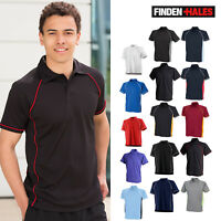 Finden & Hales Piped Performance Polo LV370- Short Sleeve Fitness Collar T-Shirt