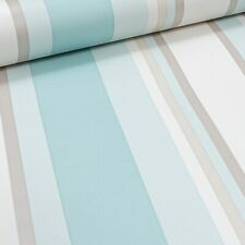 Wilko Pastel Teal Light Blue Striped Wallpaper Off White Cream Beige Stripe
