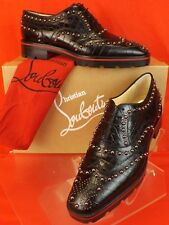 4e250cfb906c NIB LOUBOUTIN CRAPADONNA CROCO PRINT LEATHER STUDDED WINGTIP BROGUE OXFORDS  38.5