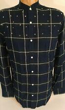 INC International Concepts Medium Shirt Band Collar Star Studded Windowpane
