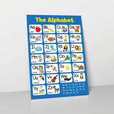 ALPHABET LEARN CHILDRENS REVISION POSTER WALL CHART ABC CHILDS BLUE KIDS A-Z
