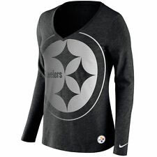 Women Pittsburgh Steelers Logo Wrap Tri-Blend V-Neck Long Sleeve T-Shirt Small
