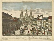 Stampa antica originale veduta facciata del Duomo Milano 1760ca