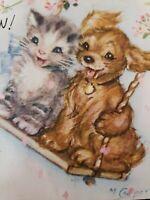 Vtg Rust Craft Birthday Greeting Card Marjorie Cooper Dog Kitten Rope Swing 40s